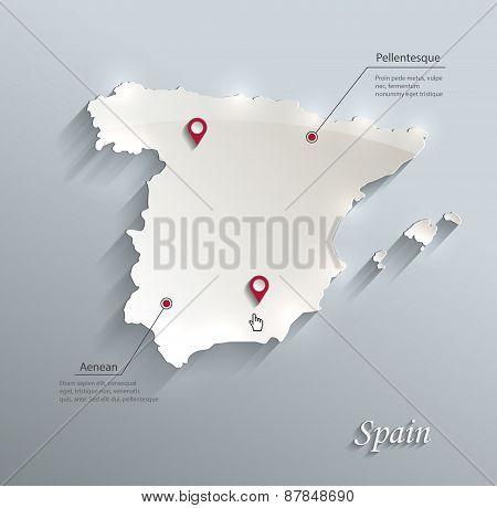 Spain map blue white card paper 3D vector