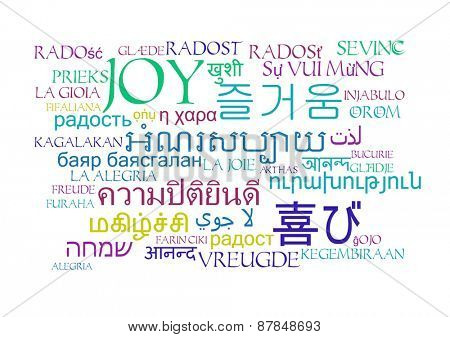 Background concept wordcloud multilanguage international many language illustration of joy emotion poster