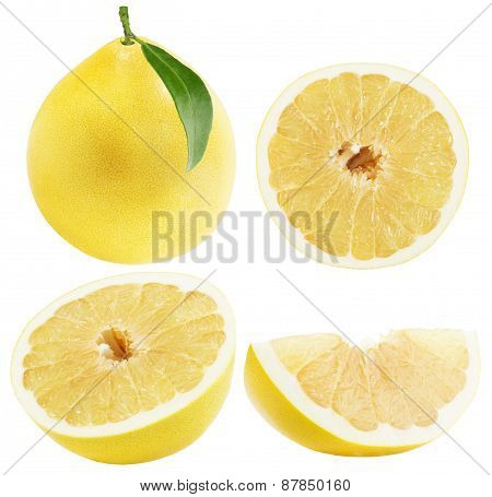 Set Of Pomelo Or Chinese Grapefruits Isolated On The White Background
