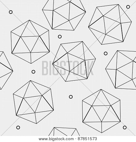Geometric seamless simple monochrome minimalistic pattern of hexagon or icosahedron  shapes