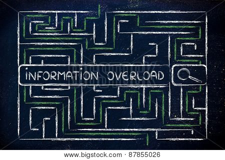Information And Data Overload, Maze And Search Engine Bar