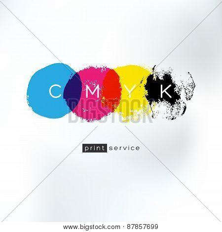 Cmyk Print Service Artistic Logo Concept