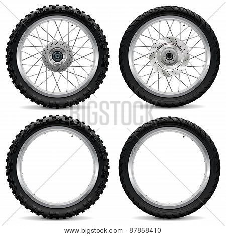 Vector Motorcycle Wheel Icons