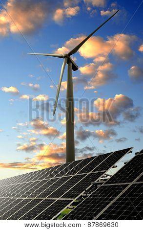 solar energy panel and wind turbine