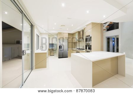 Modern White Kitchen In New Luxurious Home