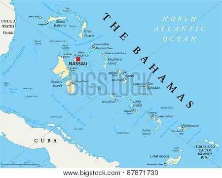 The Bahamas Political Map with capital Nassau, important cities and places. English labeling and scaling. Illustration. poster