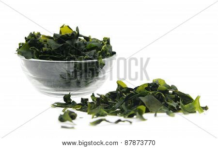 seaweed wakame ( lat. Undaria pinnatifida) on white poster