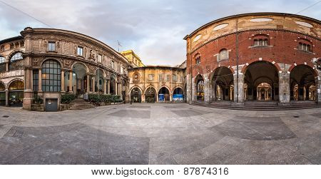 Panorama Of Palazzo Della Ragione And Piazza Dei Mercanti In The Morning, Milan, Italy