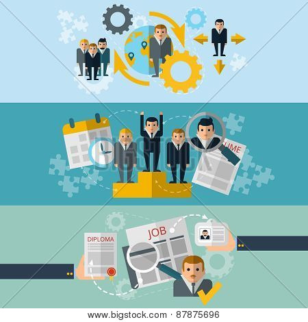 Human resources flat banners set