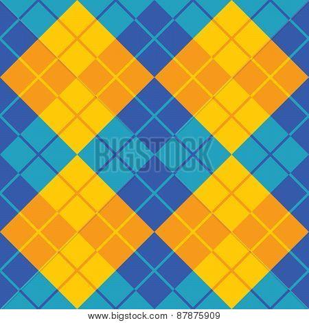 Argyle Design in Blue and Orange