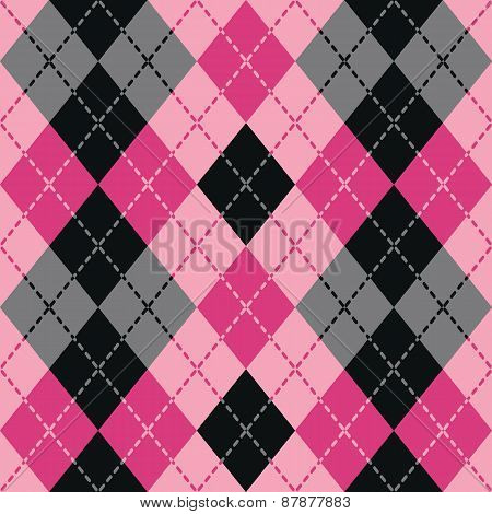 Dashed Argyle in Black and Pink