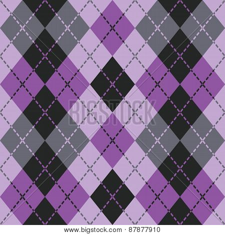 Dashed Argyle in Black and Purple
