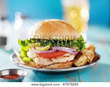 grilled chicken sandwich shot from eye level