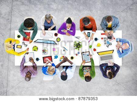 Designers Working in the Office Photo and Illustration