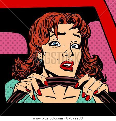 Inexperienced Woman Driver Car Accident Pop Art Comics Retro Sty