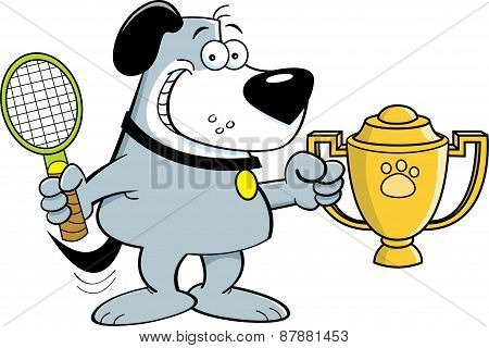 Cartoon dog holding a trophy.