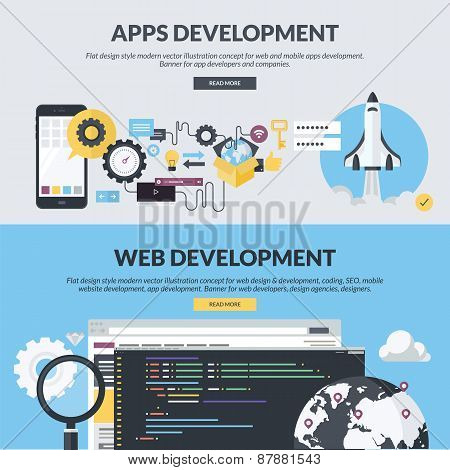 Set of flat design style concepts for websites and apps development