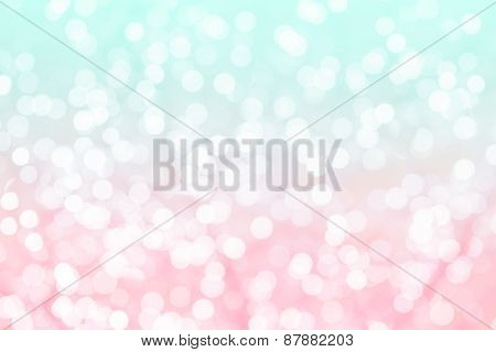 Colorful Background With Natural Bokeh Texture And Defocused Sparkling Lights. Turquoise And Pink