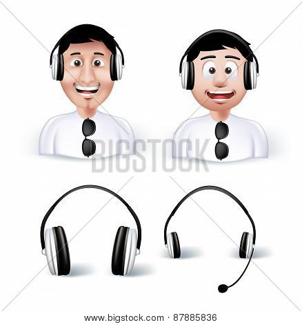 Two Young Man Happy Enjoying Listening Music