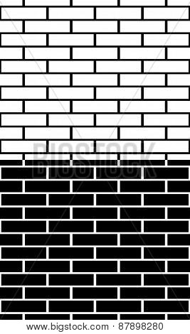 Set Of Black And White Brick Wall, Brickwork Patterns, Textures. Easy To Edit, Seamlessly Repeatable