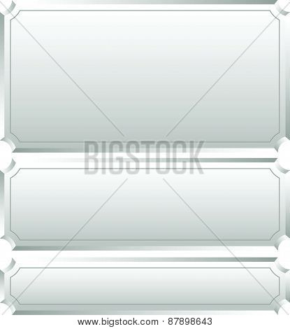 Set Of Metallic Plaques, Plaquettes, Plates With Blank Space