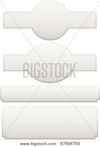Set Of Different Plaque, Plaquette Shapes On White