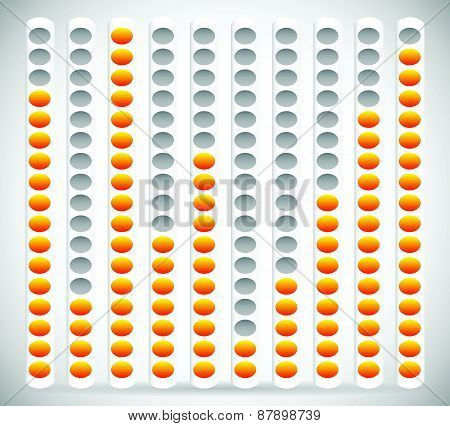 Eq, Equalizer Element With Yellow And Gray Colors. Editable Vector Graphics