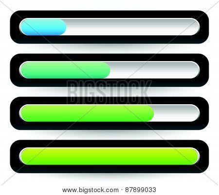 Horizontal Progress, Loading Bars. Meters, Level Indicators.