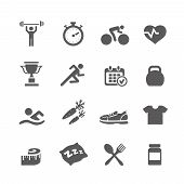 Health and Fitness icons  vector set icons with a stopwatch bodybuilder weights dumbbells heart with pulse trainer shoes bottled water poster