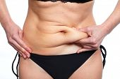 Woman fat belly. Overweight and weight loss concept. poster