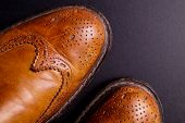 Elegant gentleman Leather Shoe. Brown elegant men's shoes ready to use for a gentleman rendezvous or business meeting. Isolated on black poster
