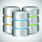 Metal Cylinder. Webhosting Server Mainframe Computer Concepts. Archive Database Hard Disk Drive HDD Vector Icon poster