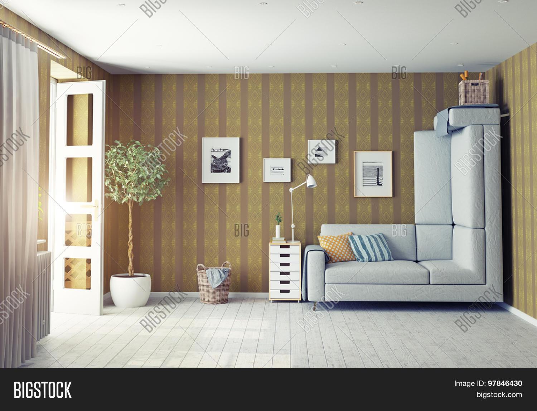 Strange living room interior 3d image photo bigstock for Weird interior design