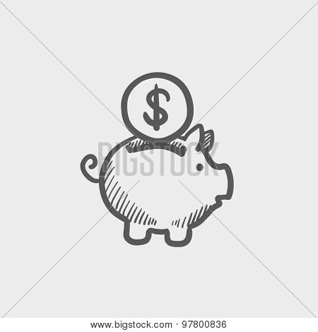 Piggy bank and dollar coin sketch icon for web and mobile. Hand drawn vector dark grey icon on light grey background.