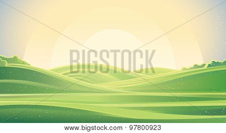 Nature background, a landscape with green hills and meadows. State of nature - sunrise.