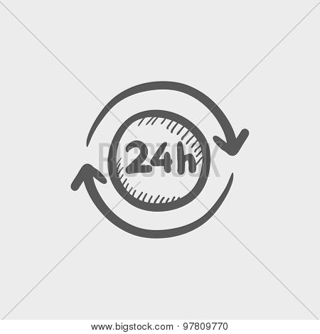Convenience service 24 hrs sketch icon for web and mobile. Hand drawn vector dark grey icon on light grey background.