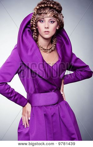 Graceful Woman In Violet Dress