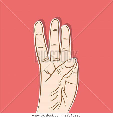 three number show finger design
