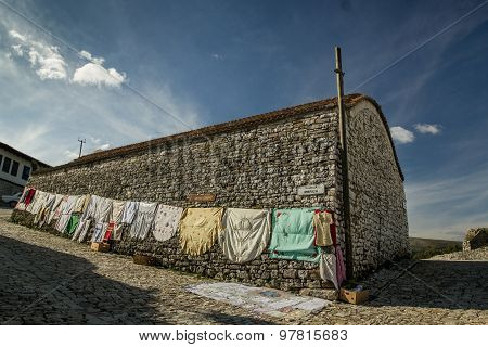 Typical old stone house inside city of Berati Albania