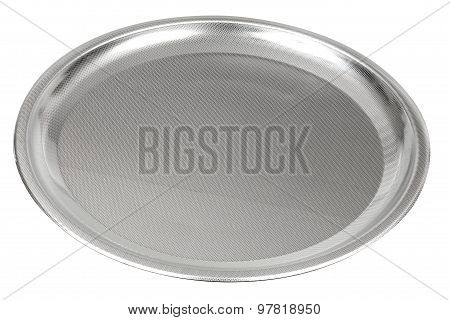 Elegant Stainless Steel (inox) Serving Tray Isolated On White With Clipping Path