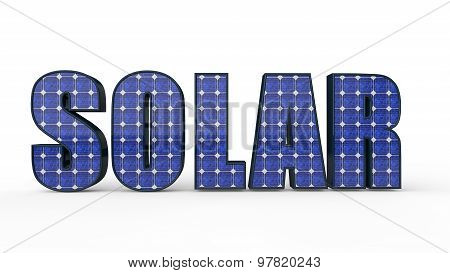 3d solar word with solar panel