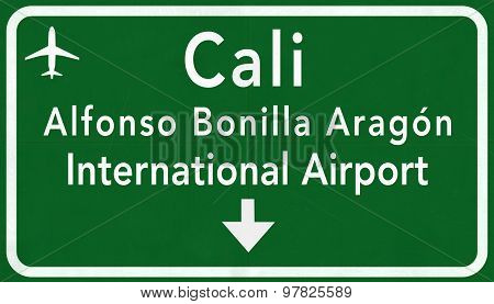 Cali Colombia International Airport Highway Sign 2D Illustration poster