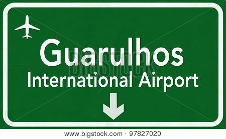 Sao Paulo Guarolhos Brazil International Airport Highway Sign