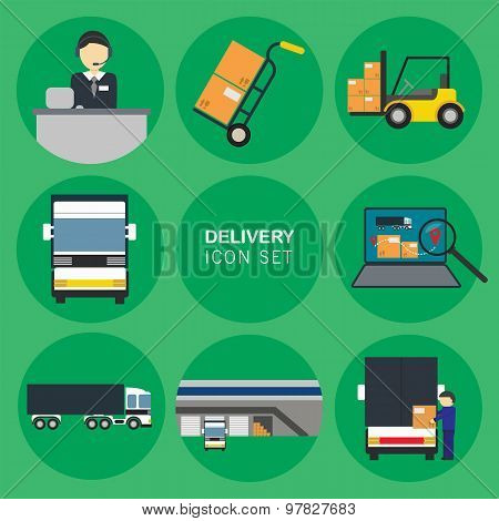 Delivery icon. Logistics icon. Delivery truck. Warehouse icon. Logistics concept. Warehouse logistics icon. Delivery icon set. Different delivery truck icon. Delivery elements. Delivery service icon. Cargo delivery icon. Delivery sign. Logistic service ic