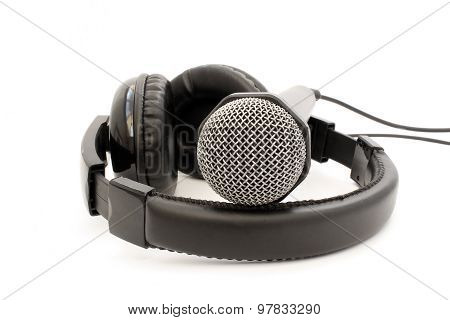 Black Leather Microphone And Headphones