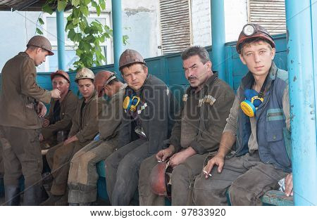 Ugledar; Ukraine - July 17; 2013: Miners Coal Mine South Donbass