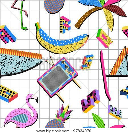 Retro 80S Summer Pattern Background