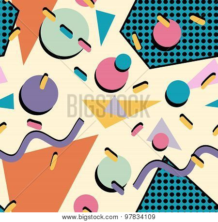 Retro vintage 80s memphis fashion style seamless pattern illustration background. Ideal for fabric design paper print and website backdrop. EPS10 vector file. poster