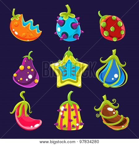 Set Colorful fantasy fruits, vector illustration
