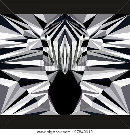 Wild Zebra Stares Forward. Abstract Geometric Polygonat Triangle Illustration
